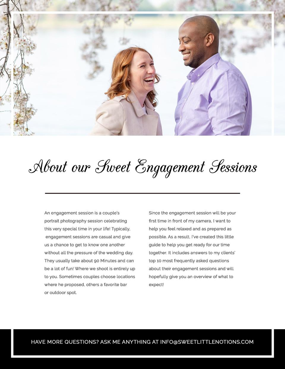 About our Sweet Engagement Sessions An engagement session is a couple   s  Since the engagement session will be your  port...